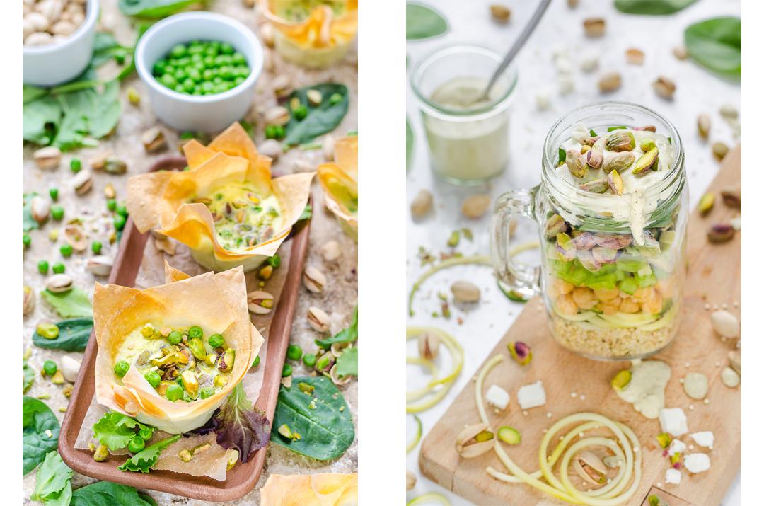Filoteig Tartelettes mit Ziegenkäse-Erbsen-Pistazien-Creme und Quinoa-Kichererbsen-Pistazien Salat to go